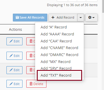Add TXT Record to verify domain