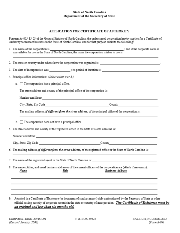 Free The North Carolina Application for Certificate of ...