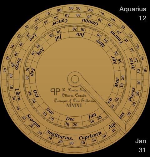 Esempio di scala calendariale con cerchio zodiacale sul retro di un astrolabio