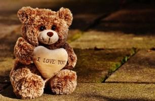 oso de peluche marrón con corazon con texto I love you