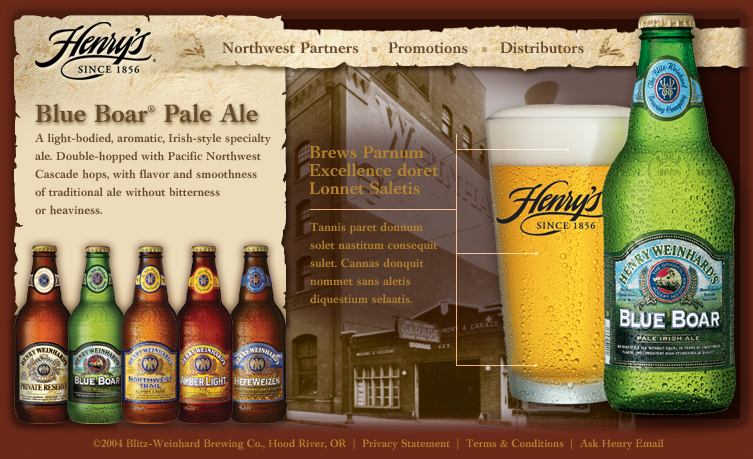 Henry Weinhard Brewing Co., Hood River, Oregon | Comp layout for website redesign