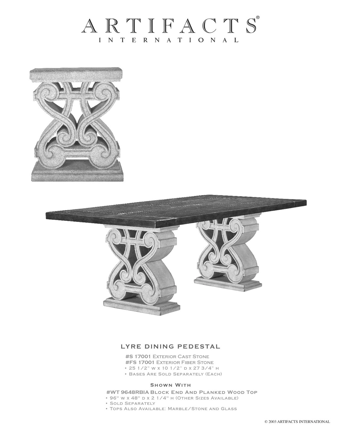 Artifacts International Cast Stone Amp Fiberstone Dining
