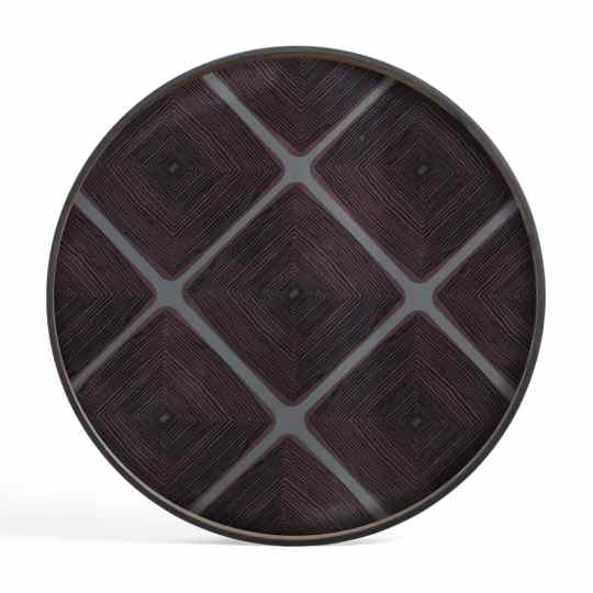 Slate linear squares glass tray round XL