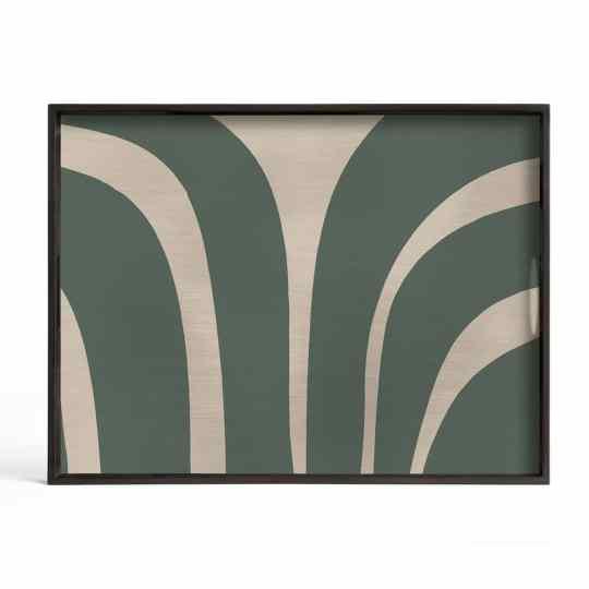 Plateau en bois ardoise courbes - rectangulaire