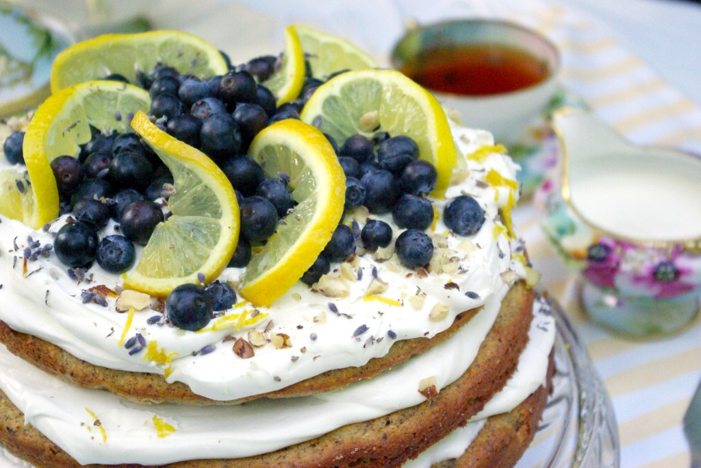 Lemon Lavender cake with vintage tea set. Wheat and milk free recipe. Photography by L.E. Paulson