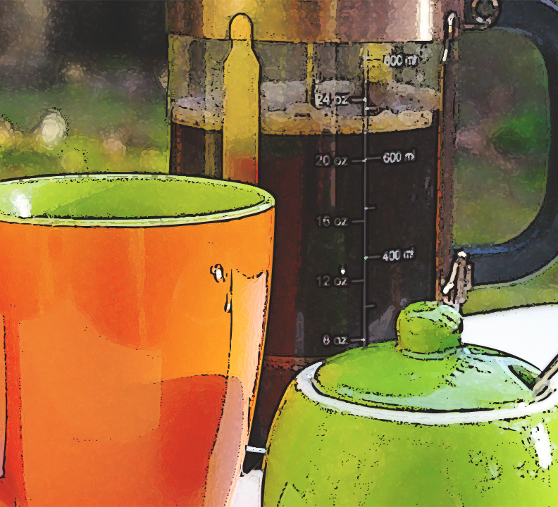 orange coffee cup green sugar container copper and glass coffee press L.E. Paulson
