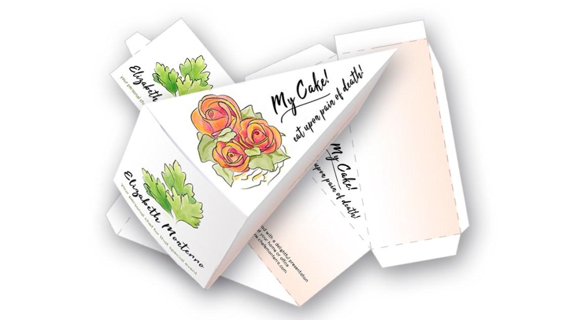 Elizabeth Monterro personal chef single slice cake box. Artigiana Communication Design