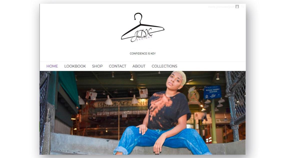 Artigiana Communication Design JDX Design home page model sitting on steps