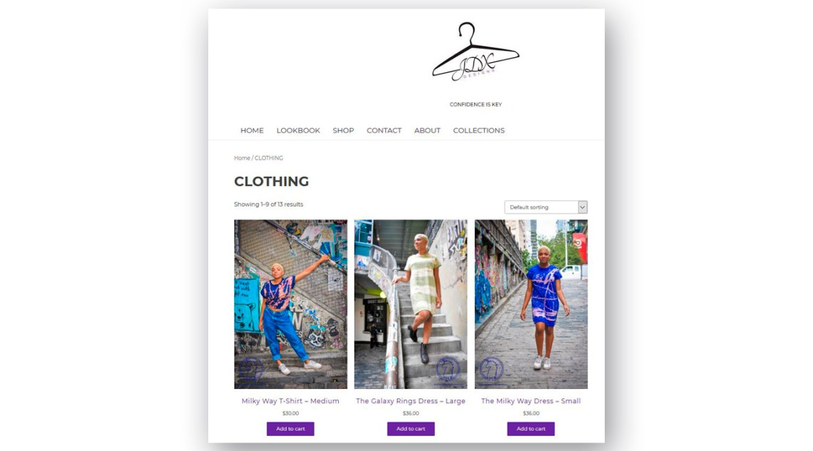 Artigiana Communication Designs JDX Designs product page models in clothing items