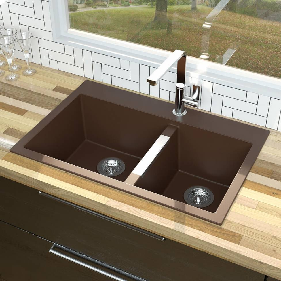 double bowl granite sink brown