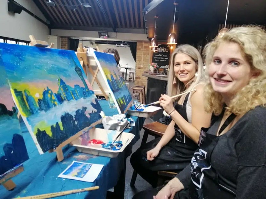 wine and paint party social club event