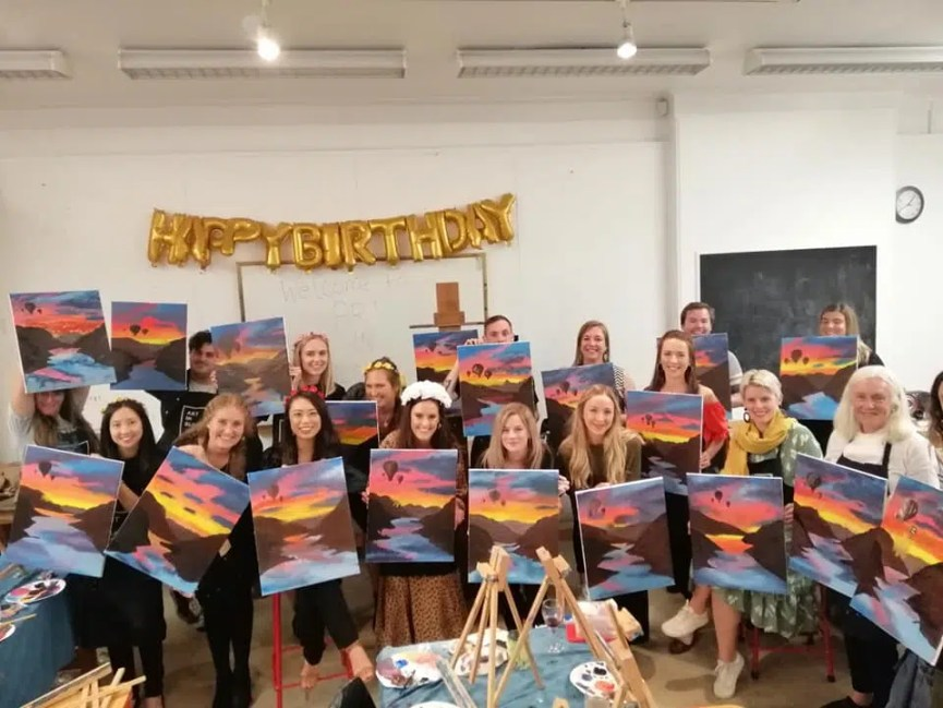 adult birthday ideas wine and paint