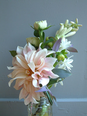 A lovely dahlia as the focal point for a bridesmaid bouquet. Tuberose adds fragrance.