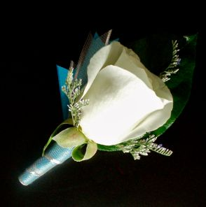White Rose with Turquoise Trim