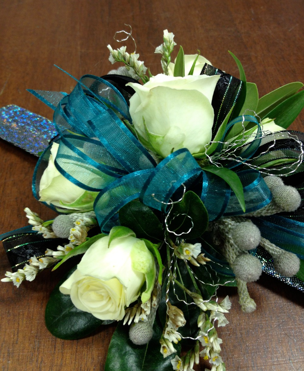 Teal_white_corsage
