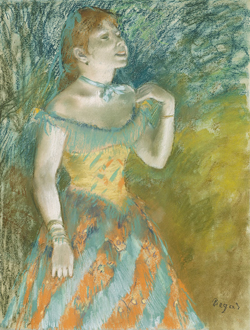 Painting of a Woman Singer in Green