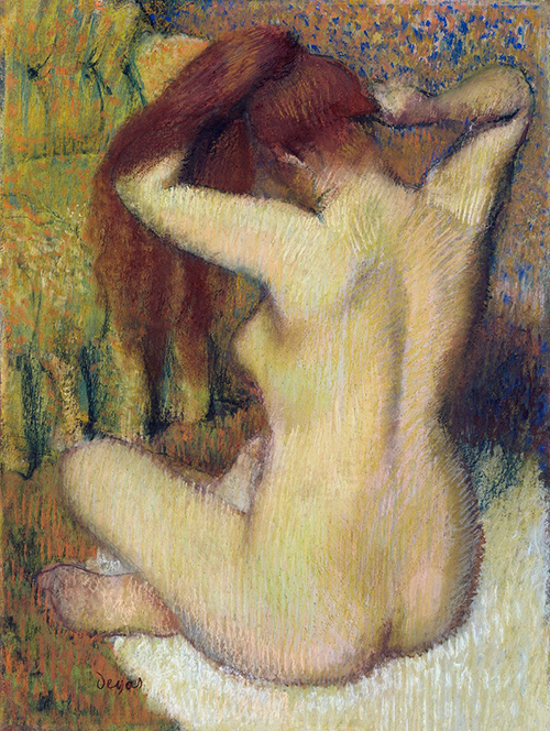 Nude Painting of Woman Combing Her Hair
