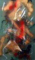 Rita Mitra Metallic Splendor 19x32 Inch Mixed Media on Paper