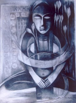 N P Pandey Untitled-4 Charcoal Acrylic on Canvas 48 x 36 Inches