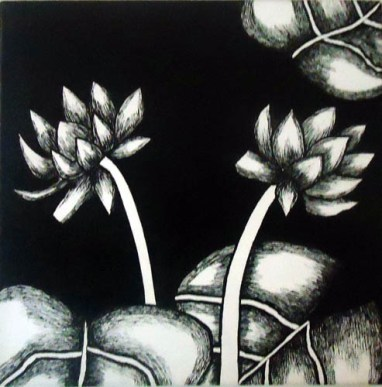 Nirmal Thakur Lotus-2 Mix Media on Canvas 12x12 Inches 4K