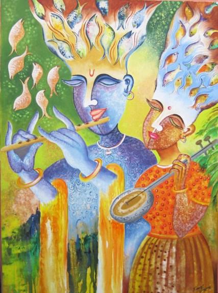 Kamal Sharma Krishna Acrylic on Canvas 30 x 42 Inches