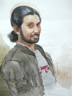 Dinesh Shringirishi Shreejesh's Portrait Water Colour on Paper 28 x 22 Inches