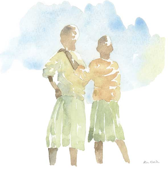 Children in Tanzania, field sketch by Alison Nicholls