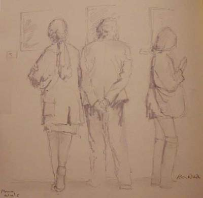 At the Exhibition sketch by Alison Nicholls