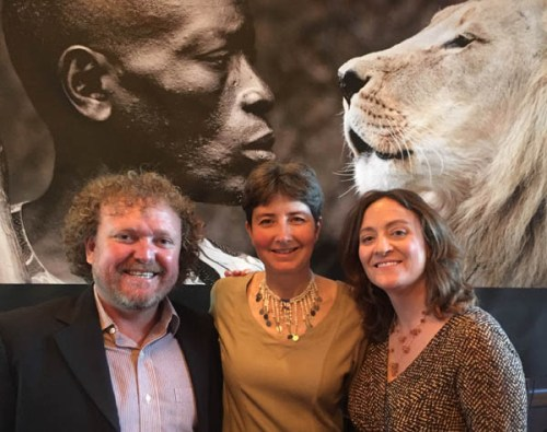 Alison Nicholls with Dr Laly Lichtenfeld and Charles Trout of the African People & Wildlife Fund