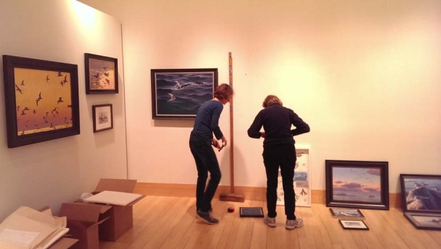 Wildlife art exhibition setup at the Flinn Gallery, Greenwich, CT.