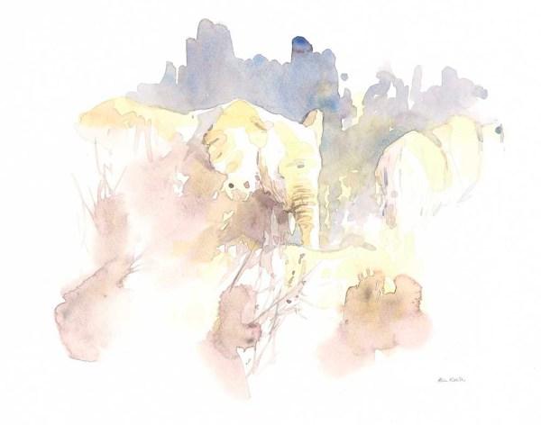 Elephants in Brown Field Sketch by Alison Nicholls ©2016