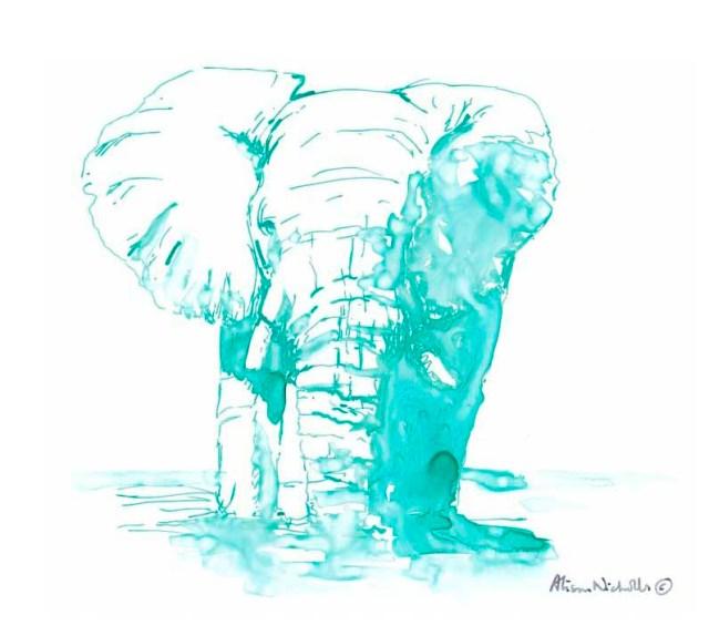 Turquoise elephant by Alison Nicholls
