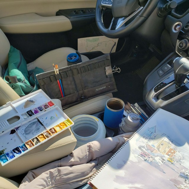 Sketching in my Car