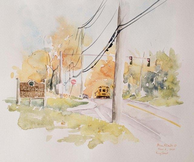 Outside Rye Brook Village Hall by Alison Nicholls