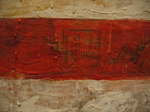 Detail of Flag (1954–55). Museum of Modern Art, New York City. This image illustrates Johns' early technique of painting with thick, dripping encaustic over a collage made from found materials such as newspaper. This rough method of construction is rarely visible in photographic reproductions of his work. Fair use, https://en.wikipedia.org/w/index.php?curid=3975993