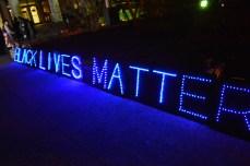 black lives matter lit up letters