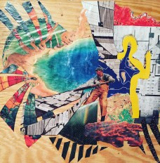 wheel keeps on spinning; collage on wood $45