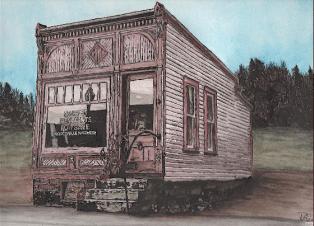 Barber Shop watercolor Dleeo