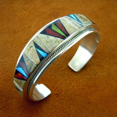 zuni-mix-stone-mosaic-inlay-bracelet