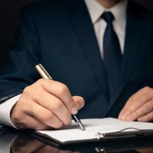 A male writing