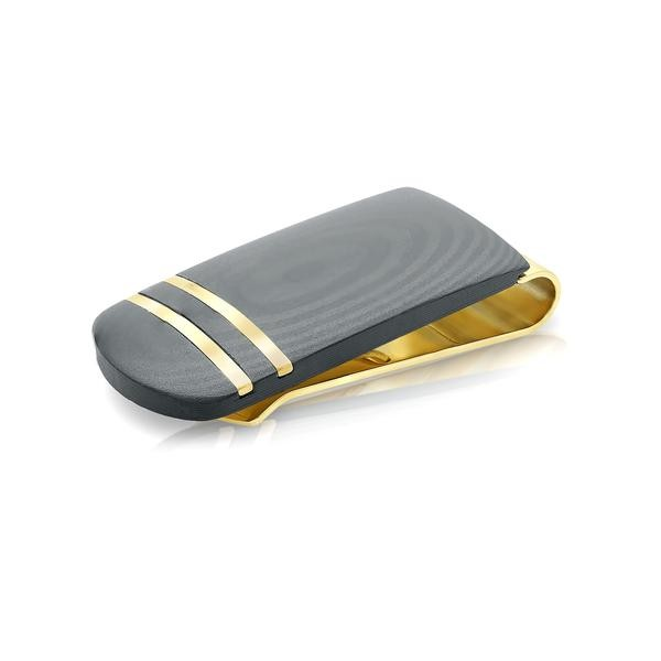 MONEYCLIP S.STEEL BLACK GOLD CARBON
