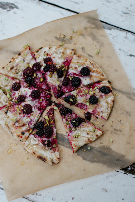 Grilled blackberry pizza with goat cheese, pistachios, and honey | Artisan Bread in Five Minutes a Day
