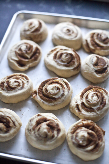 Cinnamon buns on a sheet pan before baking | Artisan Bread in Five Minutes a Day