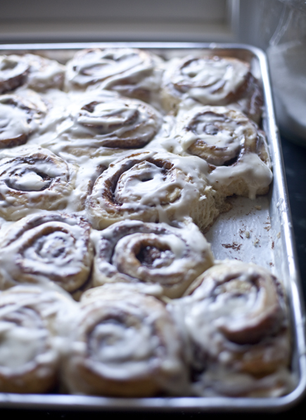 A pan of cinnamon buns | Artisan Bread in Five Minutes a Day