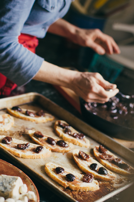 Fig Compote on Slices of Bread on a Baking Sheet   Artisan Bread in Five Minutes a Day