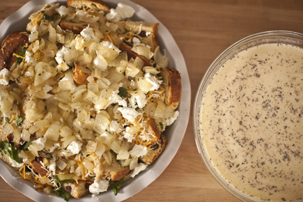Savory Bread Pudding Before Baking | Artisan Bread in Five Minutes a Day
