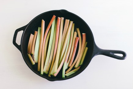 Stalks of Rhubarb in a Cast Iron Skillet | Artisan Bread in Five Minutes a Day