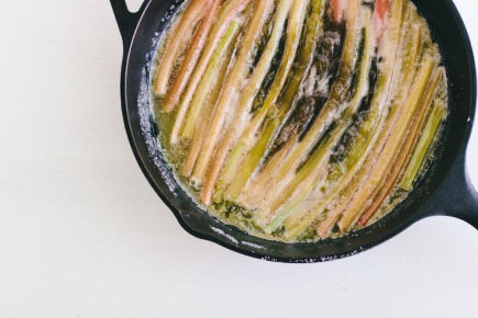 Rhubarb, Butter and Sugar in a Cast Iron Skillet   Artisan Bread in Five Minutes a Day