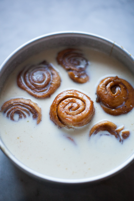 Caramel Cinnamon Buns Soaking in Bread Pudding Custard | Artisan Bread in Five Minutes a Day