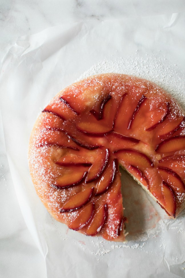Upside Down Plum Brioche Cake | Artisan Bread in Five Minutes a Day